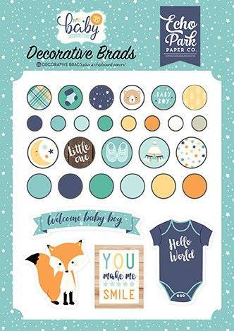 Decorative brads Hello Baby Boy Echo park (BB172020)