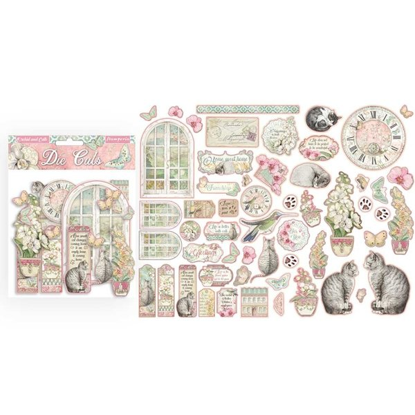 Die cuts Stamperia - Orchid and cats - 55 pcs (DFLDC26)